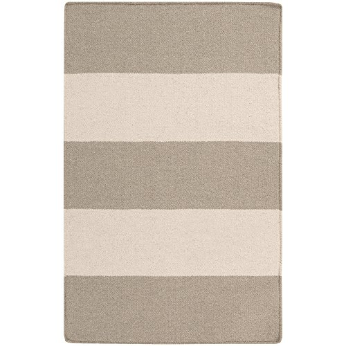 - Surya Frontier FT-51 Flatweave Hand Woven 100% Wool Parchment 2' x 3' Stripes Accent Rug