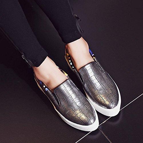 Charm Foot Womens Fashion Platform Floreale Slip On Scarpe Casual Da Donna Argento