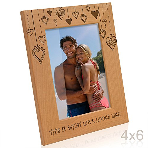 Kate Posh - Rain of Hearts - This is what Love looks like Wooden Picture Frame (4x6 - Vertical)