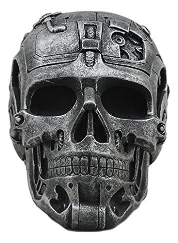 Ebros Independence Day Terminator Cyborg Skull Jewelry Utility Box Figurine Robotic Skull Statue