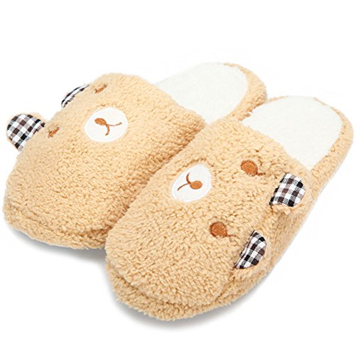 [Bear Slippers Warm Soft Cotton Home Shoes (Brown)] (Child Star Wars Costume Australia)