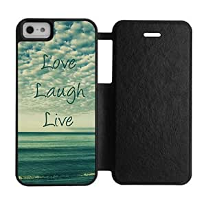 Flip Cover Case for iPhone5, 5S Quote Live laugh love Personalized Custom Durable Protector