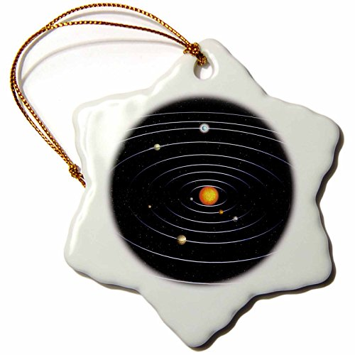 3dRose Our Solar System with All The Planets - Snowflake Ornament, Porcelain, 3-Inch (orn_200937_1) by 3dRose
