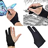 Barhunkft(TM) Two Finger Anti-fouling Glove Drawing & Pen Graphic Tablet Pad for Artist Black