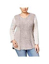 Style & Co. Womens Plus Marled Asymmetric Pullover Sweater