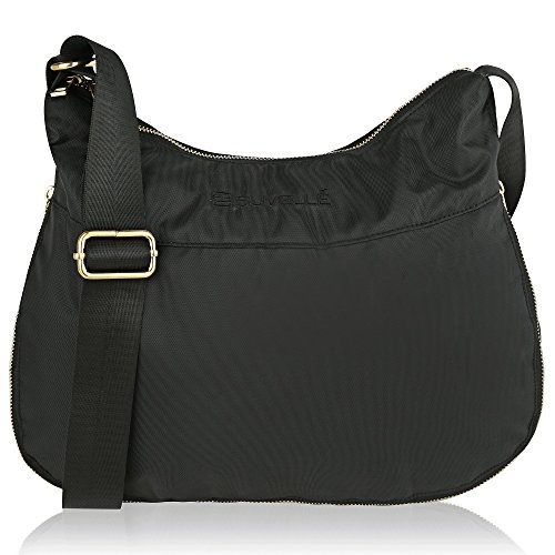 RFID Suvelle Travel BA20 Shoulder Crossbody Multi Expandable Bag Blocking Hobo Lightweight Black Pocket Handbag T1pSB