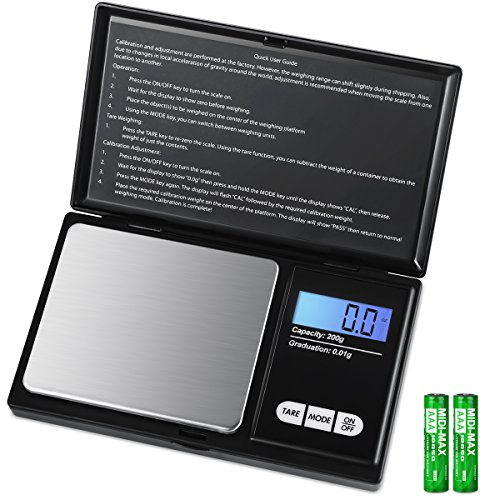 AMIR Digital Mini Scale, 200g 0.01g/0.001oz Pocket Jewelry Scale, Electronic Smart Scale with 7 Units, LCD Backlit Display, Tare Function, Auto Off, Stainless Steel & Slim Design (Battery Included)