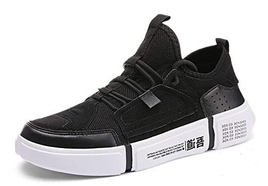 YVWTUC Casual Leather Sneakers Mens Comfort Breathable Top Running Sports  Shoes black 5.5M 28d878c0b