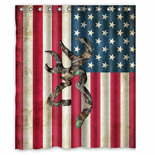 Browning Deer Camo American Flag Printed 150x180 Cm Waterproof Polyester Fabric Shower Curtain