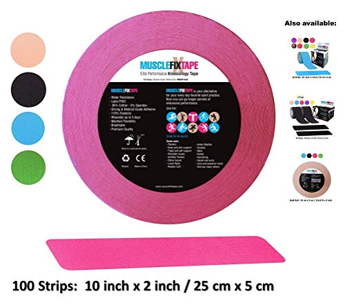 Pink Kinesiology Tape Precut Roll - Bulk Jumbo Clinical Size Recovery Sports Athletic Injury Therapeutic Support PRO Physio Therapy (100 Strips: 10 in x 2 in / 25 cm x ()