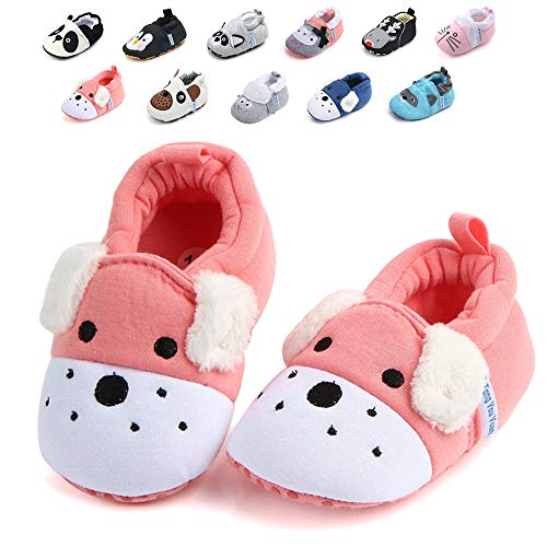 - Sawimlgy US Infant Baby Non Skid Adjustable Slippers Boys Girls Fleece Booties with Grippers Cartoon Moccasins Socks Frist Crib Shoes (M:6-12 Months, C-Pink Dog)