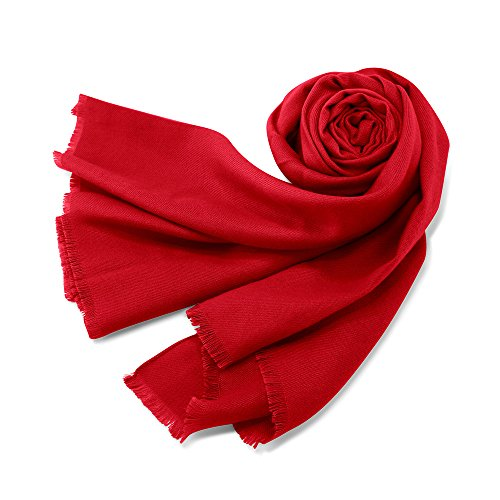Oct17 Women Large Scarf Soft Cashmere Feel Pashmina warm Shawls Wraps Winter Fall Scarfs Solid Color Light Weight Scarves - (Cashmere Cotton Wrap)