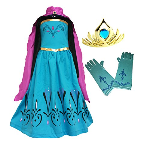 Cokos Box Elsa Coronation Dress Costume + Cape + Gloves + Tiara Crown (3 Years, Blue)