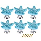 XSHION 6pcs Children's Furniture Drawer Handles Ceramic Starfish Shaped (BLUE)