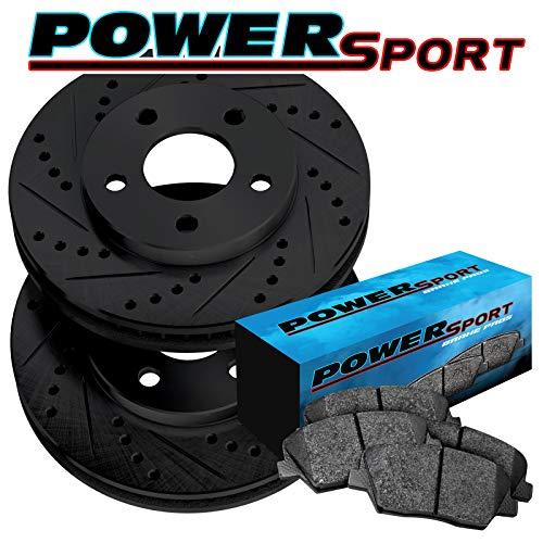 Rear PowerSport Black Drilled and Slotted Brake Rotors + Ceramic Pads A9845