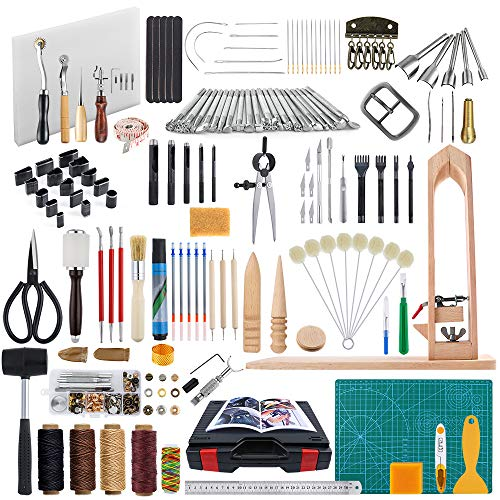 Caydo 202 Pieces Leather Sewing Tools Kit with an Instructions, Leather DIY Hand Stitching Tools with Sewing Pony, Prong Punch, Hole Hollow Punch, Matting Cut for Leather Craft Projects