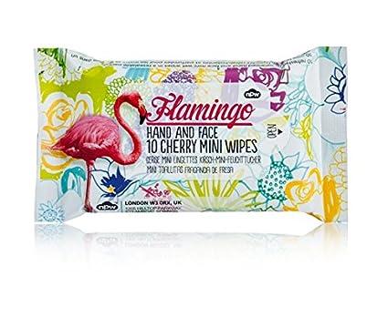 NPW – Toallitas húmedas de bolsillo Viaje Pack de 10 toallitas Flamingo con perfume de cereza