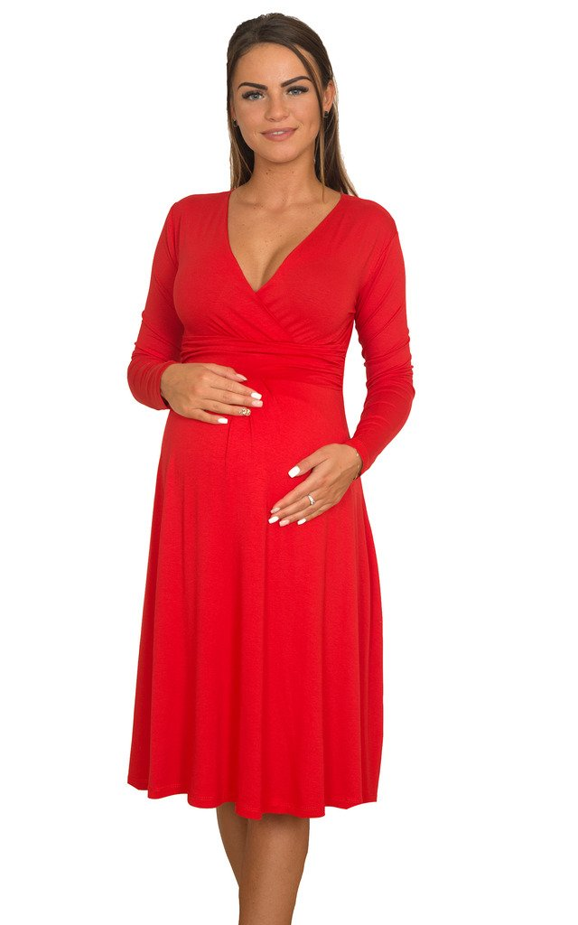 WozWoz Maternity Knee Length V-Neck Long Sleeve Maternity Dress (Small, Red)