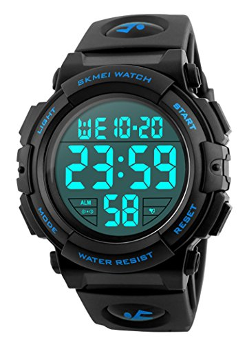 Men 's Large Face Digital Outdoor Sports Waterproof Watch LED Luminous Alarm Stopwatch Simple Army (Blue)