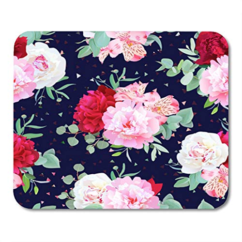 (Semtomn Gaming Mouse Pad Navy Floral Burgundy Red and Pink Peony Alstroemeria Lily 9.5