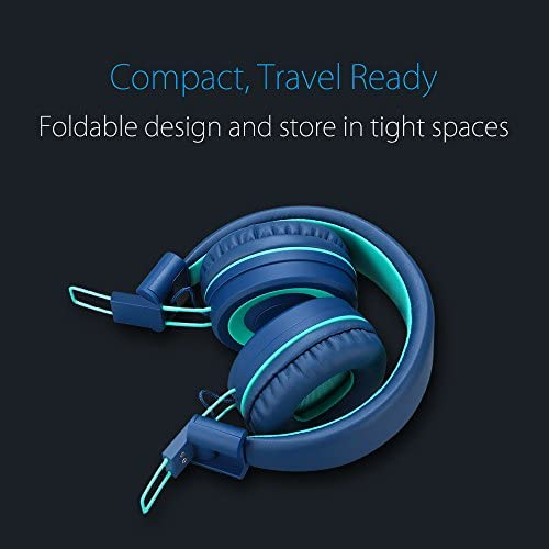 Kids Headphones – noot products K11 Foldable Stereo Tangle-Free 3.5mm Jack Wired Cord On-Ear Headset for Children/Teens/Boys/Girls/Smartphones/School/Kindle/Airplane Travel/Plane/Tablet (Navy/Teal) 51x8viVJidL