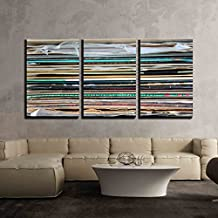 "wall26 - 3 Piece Canvas Wall Art - Close Up of Records Stack - Modern Home Decor Stretched and Framed Ready to Hang - 16""x24""x3 Panels"
