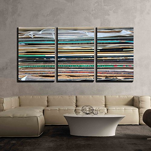 Rock Album Cover Art (wall26 - 3 Piece Canvas Wall Art - Close Up of Records Stack - Modern Home Decor Stretched and Framed Ready to Hang - 16