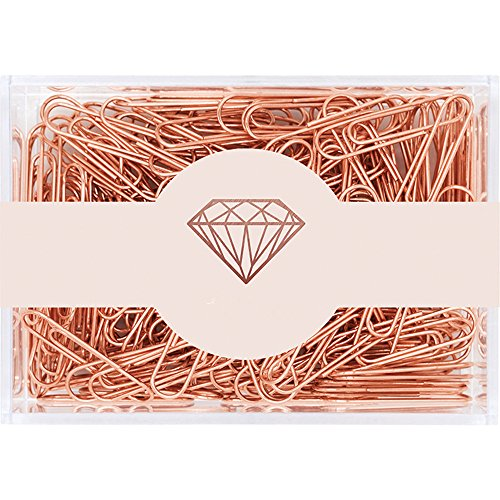 Paper Copper Clips (MultiBey Rose Gold Paper Clips Non-skid Smooth Finish Steel Wire Medium and Large Size 200pcs/28mm 70pcs/50mm (28mm))