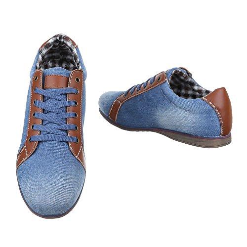 Ital-Design - Zapatos Planos con Cordones Hombre azul claro