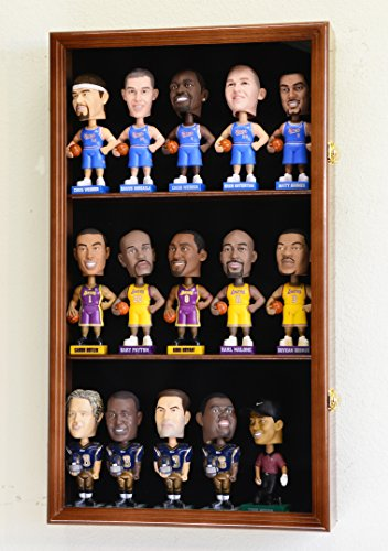 Bobble Head Figurine Display Case Cabinet Holder Wall Rack Bobblehead 98% UV Lockable -Walnut