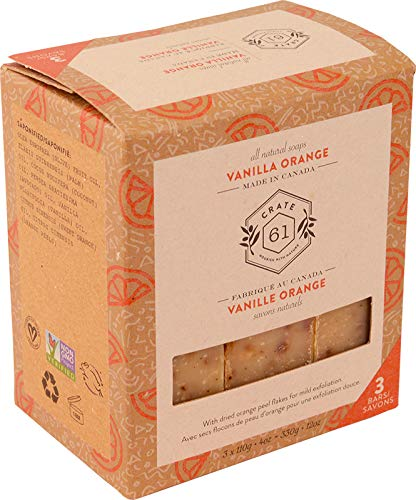 Crate 61 Vanilla Orange Soap 3 pack, 100% Vegan Cold Process, scented with premium essential oils, for men and women, face and body. ISO 9001 certified manufacturer