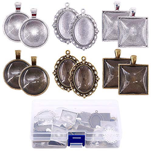 (Glarks 72-Pieces Round & Oval & Square Pendant Trays with Glass Cabochon Dome Tiles Clear Cameo for Crafting DIY Jewelry Making)