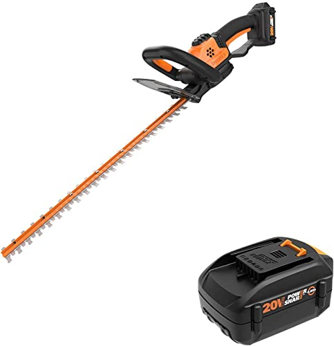 WORX WG261 20V Power Share 22-inch Cordless Hedge Trimmer, Battery and Charger Included with Power Share 4.0 AH Battery, Orange and Black