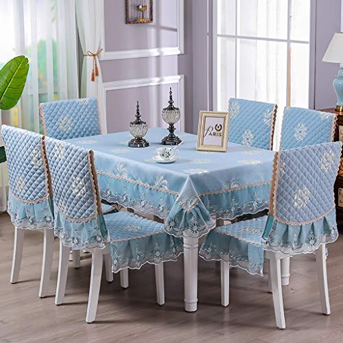 Home Kitchen Tablecloth Set Handmade Lace Luxury Tablecloth Damask Design Oblong/Rectangle Tablecloth Chair Back Cover and Chair Cushion Cover,3 Colors (Color : Blue, Size : 130180cm+4 seat Cover) (Tablecloths Thanksgiving Target)