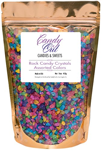 CandyOut Assorted Rock Candy Crystals 1 Pound in Sealed Stand Up Bag