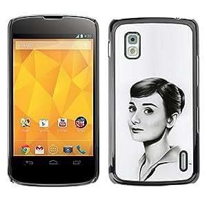 GIFT CHOICE / SmartPhone Carcasa Teléfono móvil Funda de protección Duro Caso Case para LG Nexus 4 E960 /HEPBURN - BEAUTIFUL DRAWING/