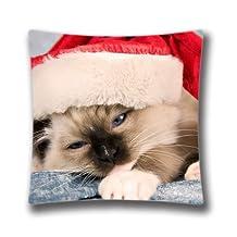 Christmas Decorative Pillow Cover-Xmas Stuff For Christmas Cat Pillow Cover 18x18(one side) Cotton Linen Cushion Cover for Sofa