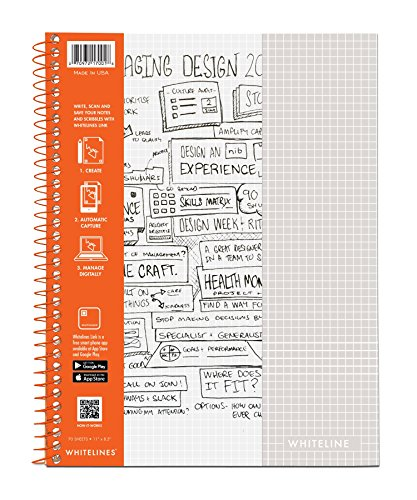WhiteLines 17001cs Case of 12 Whitelines Notebooks, Grey Lined Paper, Background Disappears When You Scan Pages With Whitelines Free App, Case 11''x8.5'' Graph, Orange by WhiteLines (Image #12)
