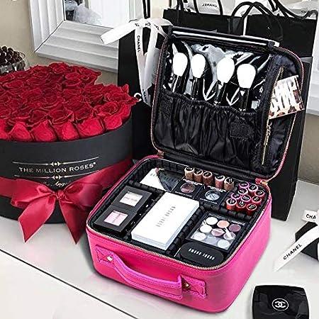 ROWNYEON Bolsa de Maquillaje Extraíble en el Interior Neceseres de Viaje Maquilladora bolsa de Maquillaje, Rosa: Amazon.es: Belleza
