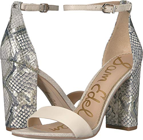 Sam Edelman Women's Yaro Ankle Strap Sandal Heel Modern Ivory/Black/White Multi Nappa Leather/Snake Print Leather 8 W US (Black Nappa Leather Footwear)