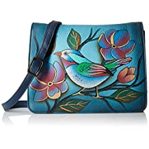 Anuschka Small Flap Crossbody Organizerlonesome Bird Denim