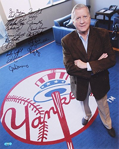 NY YANKEES MULTI SIGNED GEORGE STEINBRENNER OLD STADIUM OFFICE 16x20 PHOTO w/ 18
