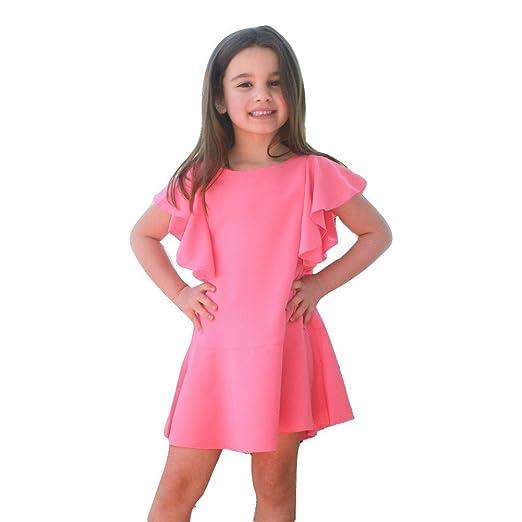 964f2f124bab Amazon.com: A.Bird Big Girls Rich Coral Flutter Sleeve Stylish Clara ...