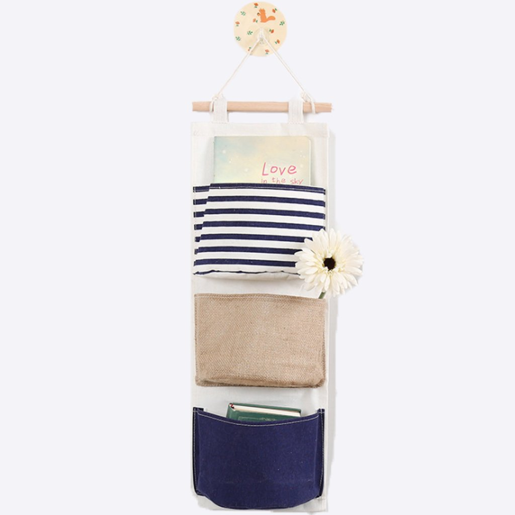 Over The Door Storage Bag Organizer Door Closet Hanging Bag Magazine Storage Pockets (3-Blue) Detin