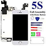 for iPhone 5S Screen Replacement-White, with Home Button, Front Camera, Earspeaker - MAFIX Full Assembly LCD Display Digitizer Touch Screen Repair Kits for A1533, A1453