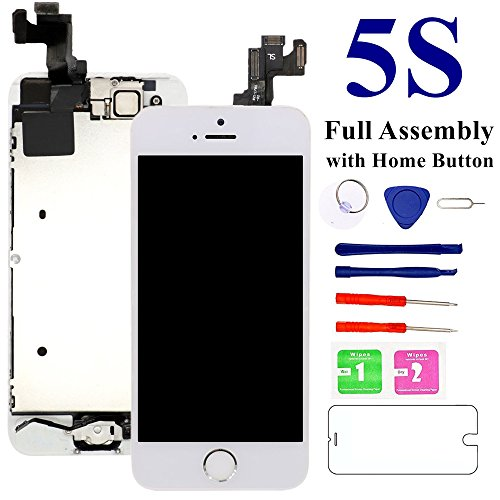 - for iPhone 5S 4.0'' Screen Replacement (White), Nroech 5S LCD Display Touch Screen Digitizer Replacement Full Assembly with Repair Tool Kit + Free Screen Protector