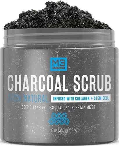 M3 Naturals Activated Charcoal Scrub Infused with Collagen and Stem Cell All Natural Exfoliating Body and Face for Acne Cellulite Dead Skin Scars Wrinkles Cleansing Exfoliator 12 oz