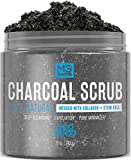 M3 Naturals Activated Charcoal Scrub Infused with Collagen and Stem Cell All Natural Body and Face Skin Care Exfoliating Blackheads Acne Scars Pore Minimizer Reduces Wrinkles Anti Cellulite12 OZ