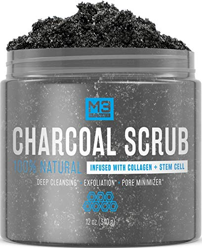 Exfoliating Mask - M3 Naturals Activated Charcoal Scrub Infused with Collagen and Stem Cell All Natural Body and Face Skin Care Exfoliating Blackheads Acne Scars Pore Minimizer Reduces Wrinkles Anti Cellulite12 OZ