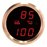 VEI Systems Dual-Display gauge: 90 PSI vacuum-boost and 100 PSI oil pressure (red/silver)